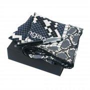 Набор (платок шелковый, ручка шариковая) черный с серым